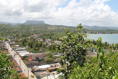 View over Baracoa from the Hotel Castillo - behind the mountain El Yunque