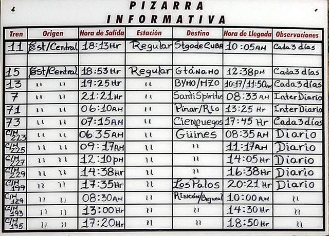 Timetable train Havana
